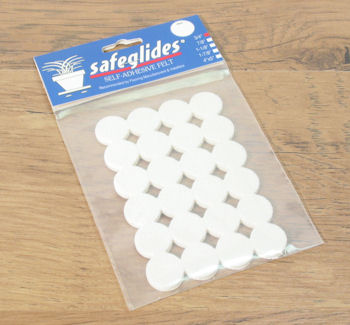 Floor Care: Safeglide Felt Floor Protectors   Self Adhesive Chair Glides    3/4 IN. Self Adhesive White Chair Glides